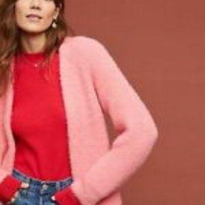 Sleeping in Snow Open Front Pink Wool Blend Cardi
